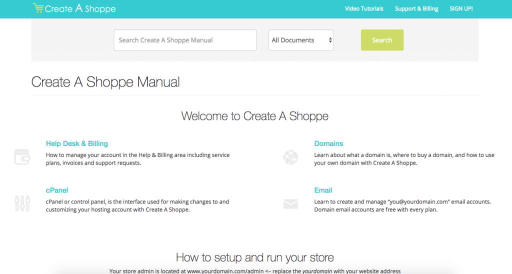 Create A Shoppe Help Manual